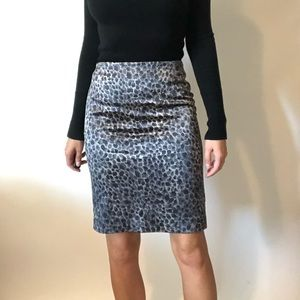 {Ann Taylor} silk animal print skirt